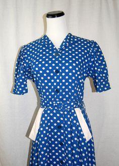 Beyond Adorable1940s Blue & White Polka Dot Lucy by LolaAndBlack, $115.00