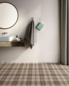 Spina Tailorart Light glazed ceramic tile by Ceramica Sant'Agostino. Glazed Ceramic Tile, Porcelain Tile, Floor Design, Tile Design, Tile Bedroom, Background Tile, Buy Tile, Tartan Pattern, Glass Mosaic Tiles