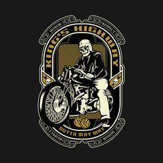 Shop King's highway biker t-shirts designed by warrock as well as other biker merchandise at TeePublic. Cafe Bike, Biker T Shirts, Porsche Logo, Shirt Designs, Printables, King, Tees, Awesome, Check