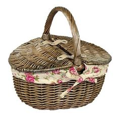 Red Hamper Antique Wash Double Lidded Oval Picnic Basket Garden Rose Lining, Wicker, Brown, 23 x 30 x 17 cm Vintage Picnic Basket, Wicker Picnic Basket, Wicker Baskets, Rose Drink, Insulated Lunch Bags, Hamper, Storage Baskets, Antiques, Brown