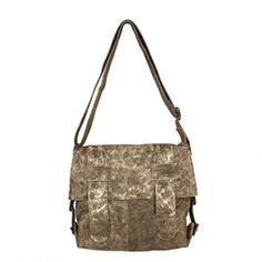 Latico Regina Distressed Olive Cross-Hatch Shoulder Bag