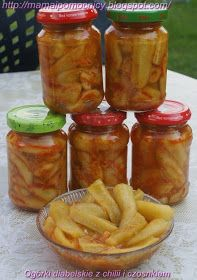 Mama i Pomocnicy: Ogórki diabelskie z chilii i czosnkiem Preserves, Pickles, Salsa, Curry, Jar, Vegetables, Recipes, Preserve, Glass