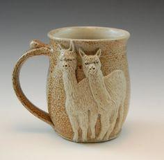 Alpaca or Llama Clay Drinking Mug Handmade by SaltKilnCreations, $55.00
