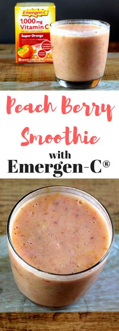 Easy peach berry smoothie recipe with Emergen-C to promote immune health, Berry Smoothie Recipe, Avocado Smoothie, Strawberry Smoothie, Healthy Smoothies, Healthy Drinks, Healthy Cooking, Smoothie Recipes, Healthy Recipes, Ninja Recipes