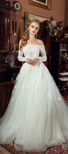 Off the shoulder long sleeves heavy embellishment ball gown wedding dress #wedding #weddingdress #weddinggown