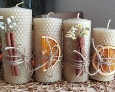 Eco-friendly Organic Beeswax Candle Made from handrolled pure beeswax sheets & with Essencial oils(Orange, Cinnamon).Set of 4 Candles by EcoCandlesWithLove on Etsy Homemade Candles, Diy Candles, Candle Decorations, Aromatherapy Candles, Beeswax Candles, Christmas Candles, Christmas Crafts, Nordic Christmas, Christmas Christmas