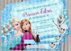 Frozen Princesses inspired birthday invitation card / customize/ printable on Etsy, $10.00