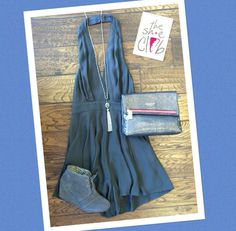 You need this romper in both colors. So stylish😎  Charcoal Pleated Romper $75 Toms Desert Wedge $89 Hammitt VIP $250 Beaded Tassle Necklace $24 ☎️210-824-9988