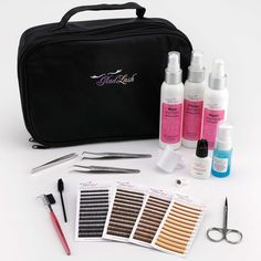 "Glad Lash Complete Eyebrow Extension Kit This versatile 50 piece, Eyebrow Extension Kit meets the needs of beginners and advanced technicians alike. The kit can accommodate approximately 30 eyebrow  extension applications.  The Professional Travel case is lightweight nylon yet durable measuring 11""L x 7""W x 3.5""H. Includes top and bottom compartments for all your eyebrow and eyelash extension tools. For a list of all items included in this complete kit please see bullet points below."