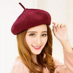 Women wool French beret hat for winter wear