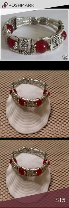 Handmade Bracelet Beautiful Tibetan jewelry Tibet red jade bracelet. .475 inches wide. 7 inch length 4 red jade gems NWT Jewelry Bracelets