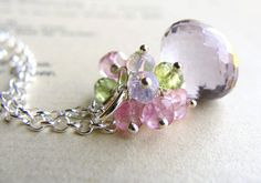 Pink Amethyst Necklace Gemstone Cluster Necklace Lavender Peridot Pink Topaz Sterling Silver 15% off use code LETITSNOW on Etsy, $82.00