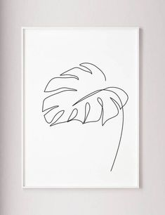 Monstera leaf print, Monstera one line drawing wall art, Wabi sabi Minimalist modern wall decor, Abstract Botanic poster, black and white Feuille de Monstera imprimer art mural de Monstera un dessin Leaf Drawing, Wall Drawing, Line Drawing Art, Single Line Drawing, Drawing Tips, Line Drawings, Botanical Line Drawing, Continuous Line Drawing, Drawing Faces