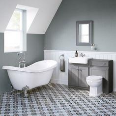 Grey Vanity Unit, Vanity Units, Grey Traditional Bathrooms, Bathroom Interior, Bathroom Ideas, Roll Top Bath, Grey Bathrooms, Clawfoot Bathtub, House Ideas