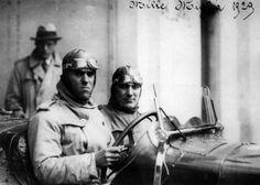 The Italian driver Tazio Nuvolari, along with his navigator, waiting for the start of the third Mille Miglia. Italy, 1929 MONDADORI PORTFOLIO