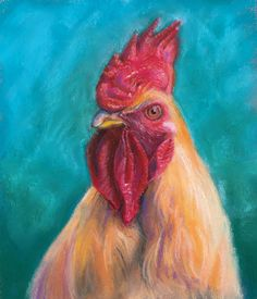 Pastel drawing of a rooster