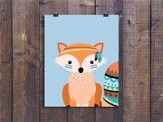 Tribal Fox - Nursery Wall Art, Printable Woodland Decor, Animal Play Room Art, Cute Kids Poster, Fox Nursery Art, Woodland Baby Boy Gift by ColorfulCloudStudio on Etsy https://www.etsy.com/nz/listing/277824092/tribal-fox-nursery-wall-art-printable