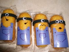 """Minion Valentines....Made out of (Store Brand) Twinkies! I used craft foam, googly eyes, a black Sharpie, and construction paper. The back says, """"Will you be my minion?...I mean VALENTINE...Will you be my Valentine?"""""""