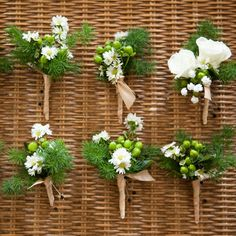 Simple white and green boutonnieres | Melissa Robotti Photography | Broadway Florist Of Newport |