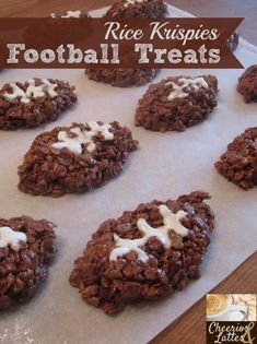 """rice krispies football treats. I wonder if the gluten-free brown rice """"krispies"""" would be dark enough. My kids already think the brown rice cereal is chocolate...."""