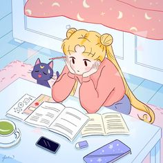 Sailor Moon Aesthetic, Aesthetic Anime, Cute Anime Wallpaper, Cartoon Wallpaper, Kawaii Drawings, Cute Drawings, Kawaii Art, Kawaii Anime, Animes Wallpapers