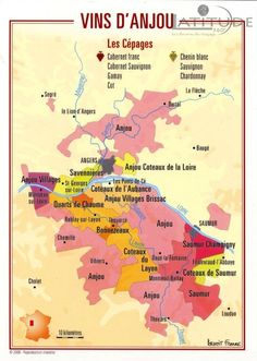 Map of the vineyard areas of the Anjou appellation in the Loire Valley - France