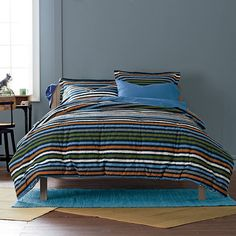 Douglas Striped Kids Sheets & Bedding Set - shades of navy, gray, sky blue, rust, and ivory