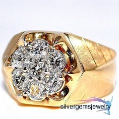 14k Yellow Gold Mens Round Diamond Wedding Engagement Pinky Ring Band 1.79 Ct