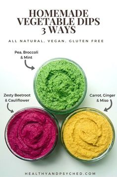 Check out these three colourful homemade dips made with vegetables. These recipes are great to make and share at a BBQ. #vegan #glutenfree #noaddedsugar via @healthandpsyched