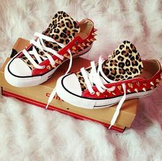 I WANT these CHUCKS! red and leopard print converse with gold spikes