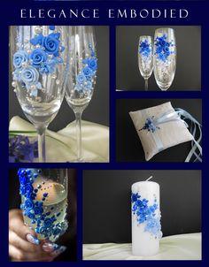 Blue colour scheme Wedding Wine Glasses, Wedding Champagne Flutes, Wedding Bottles, Decorated Wine Glasses, Painted Wine Glasses, Wine Glass Candle Holder, Henna Candles, Glitter Wine, Blue Wedding