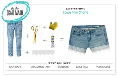 P.S.- I made this...Lace Trim Shorts featuring @Gap Jeans
