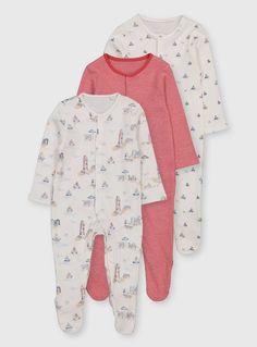 Baby Boys 3 Pack Wild Animal Sleepsuits Babygrows Nutmeg 0-24 Months NEW