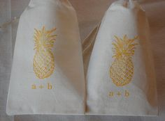 10 Personalized Wedding Favor Bags - Yellow Vintage Pineapple Cotton Gift Bags with Drawstrings 3x5 via Etsy - like pineapple picture, good website to keep in mind