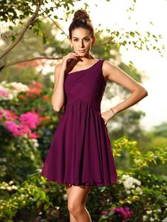 A-Line/Princess One-Shoulder Pleats Sleeveless Short Chiffon Bridesmaid Dresses