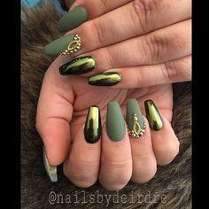 Chrome Green Nails Nail Ideas Pinterest Nails Nail Designs