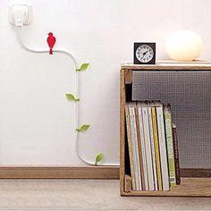Fixador e decorador de cabo elétrico - Folhas e Pássaros - Basement    presentes criativos, presentes diferentes, presentes originais
