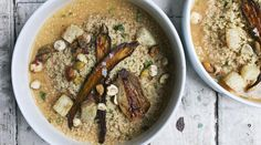 Roasted Fall Vegetable Couscous with Coconut Miso Broth topped with crushed hazelnuts and pistachios Roasted Vegetable Couscous, Roasted Fall Vegetables, Veggies, Vegan Soups, Vegetarian Recipes, Healthy Recipes, Healthy Meals, Healthy Food, Clean Recipes
