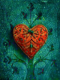 """You have to keep breaking your heart until it opens."" Rumi (Mosaic Valentine by Elizabeth Burton) I Love Heart, With All My Heart, Happy Heart, Humble Heart, Heart Beat, Talisman, Crazy Quilting, Gold Work, Love Symbols"