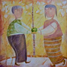 "Forbidden fruit - Original, Abstract, Surreal, Art, Painting. ""Adam and Eve. Man and woman... Eternal subject, eternal love. Beginning of beginnings."" Love tyrannises all the ages; but youthful, virgin hearts derive a blessing from its blasts and rages..."" - the great poet, Alexander Pushkin, wrote. A temptation in the form of green apple. A forbidden fruit, with what everything began. ------------------------------------------------------------------ Certificate of Authenticity is signed..."