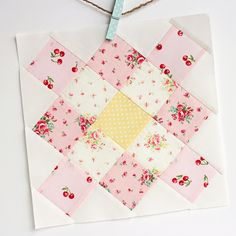 granny square block in yellow and pink by nanaCompany