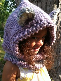 Fox Hoodie Hood Chunky Knit Cowl Hand Knit Animal by ThatGirlKnitz, $32.00