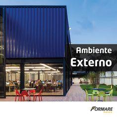 Que tal dar uma renovada no ambiente externo da sua empresa? As telhas metálicas pintadas dão um toque super moderno e combinam com restaurantes, lanchonetes e faculdades :D #formaremetais #ObrasDeAço