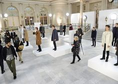 Cullen Williams created a series of white podiums for the presentation of outwear brand Mackintosh's Autumn Winter 2016 range during London Collections: Men
