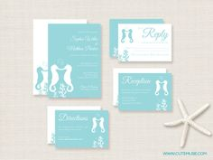 Beach  Seahorse Wedding Invitation Suite  by CuteMuseStationery, $12.00