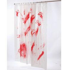 Bloody Shower Curtain Blood Bates Motel Psycho Halloween Prop Movie Bathroom Rod