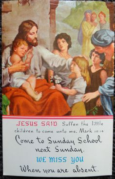 Vintage Postcard - Come to Sunday School next Sunday