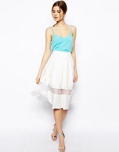 ASOS Woven Midi Skirt with Sheer Hem, $72.41