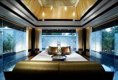 Sensational bedroom decor surrounded by pool- Banyan Tree Resort, Phuket