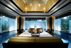 Decadent bedroom with pool